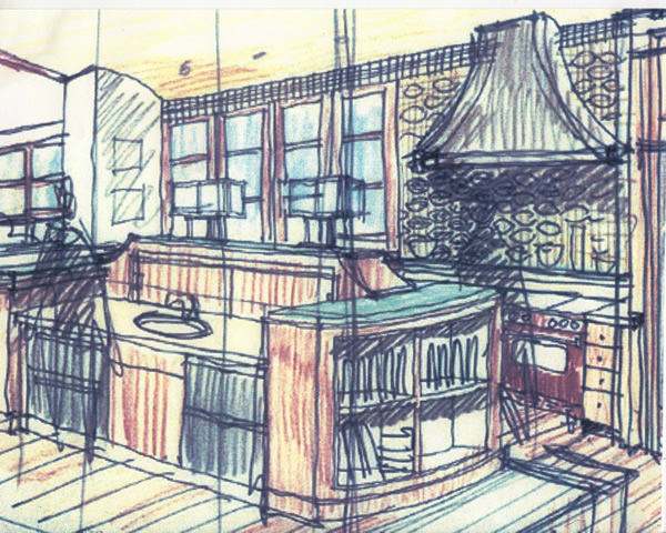 Atherton kitchen sketch
